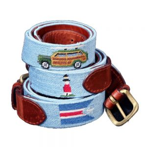 Embroidered belt showing Sankaty light and a wood paneled station wagon.