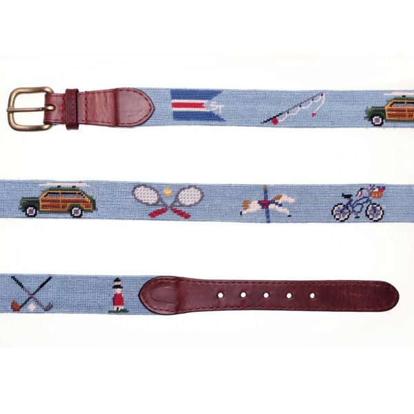 Embroidered belt showing Sankaty light and a wood paneled station wagon , rackets and other graphics.