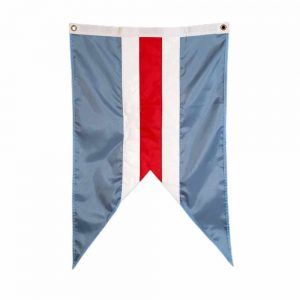 Sconset Trust Burgee with Sankaty Red and white stripes on a Trust Blue field