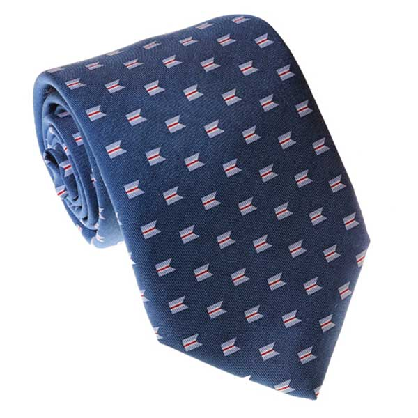 Navy necktie with the Sconset Trust Logo