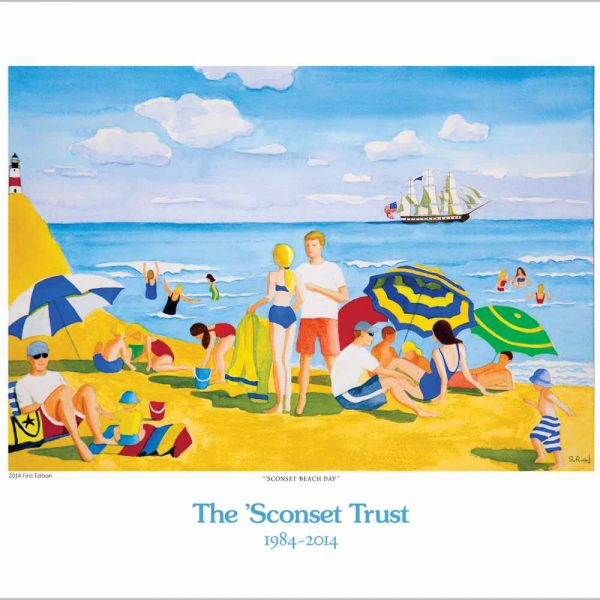 Poster depicting a beach scene