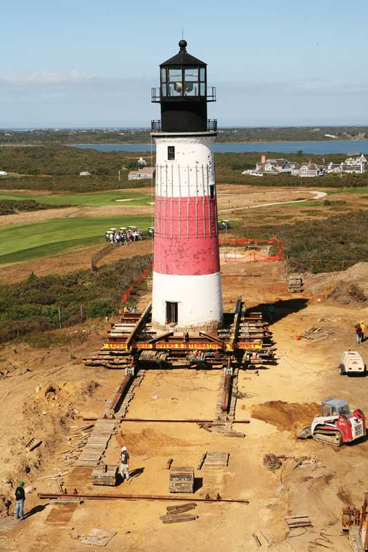 Sankaty Light House being moved on tracks.