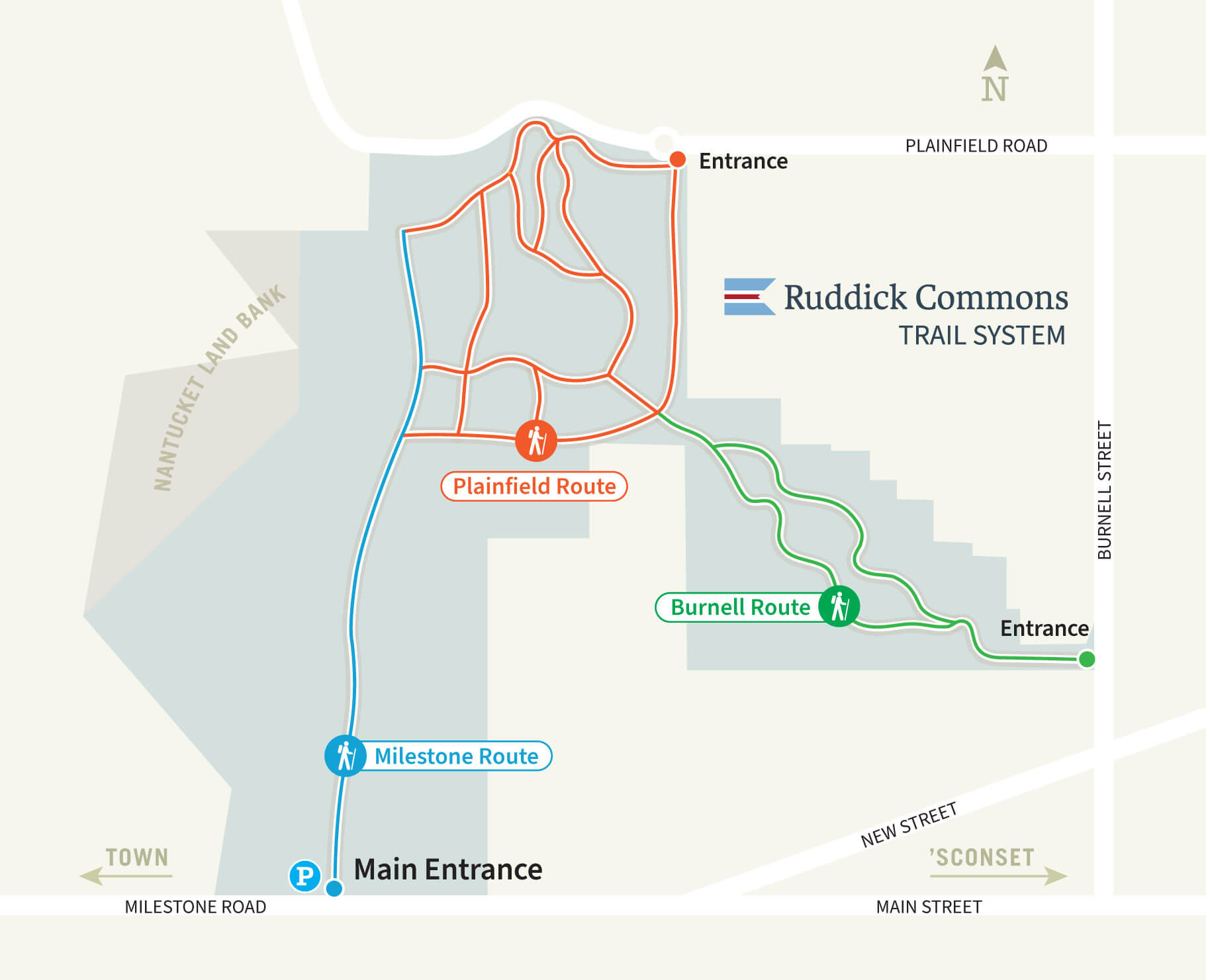 Map of Ruddick Commons Trail System