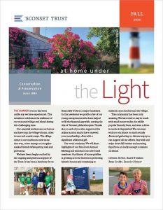 Cover of the Fall 2020 newsletter with image of thelighthose and rose covered cottage