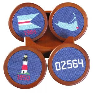 Set of four Needlepoint Coasters 'Sconset star on the Nantucket map, 'Sconset's own ZIP code, the 'Sconset Trust burgee, and the iconic Sankaty Head Lighthouse.