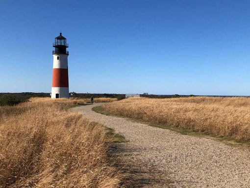 Gravel trail leading to a lighthouse.